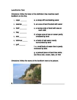 4th grade Landforms Test