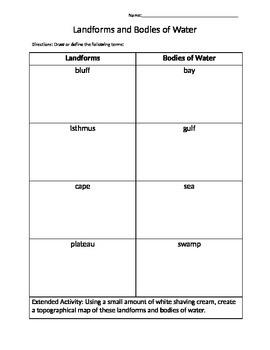 4th grade Landforms/Bodies of Water
