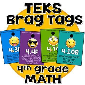 4th grade MATH TEKS Brag Tags - Emojis