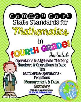 4th grade Math Common Core Standards Posters BUNDLE