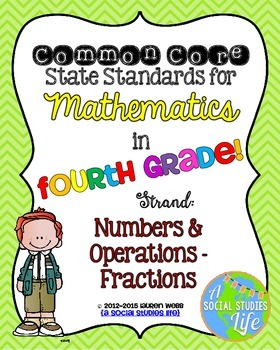 4th grade Math Common Core Standards Posters Numbers & Operations - Fractions