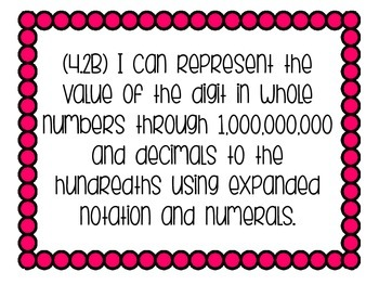 """4th grade Math """"I CAN"""" statements for the TEKS"""