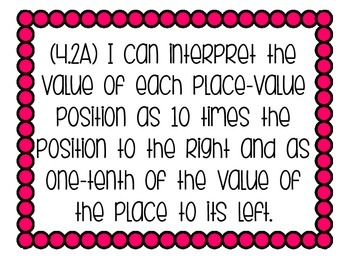 "4th grade Math ""I CAN"" statements for the TEKS"