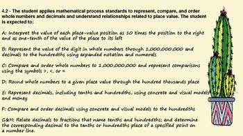 4th grade Math TEKS standards