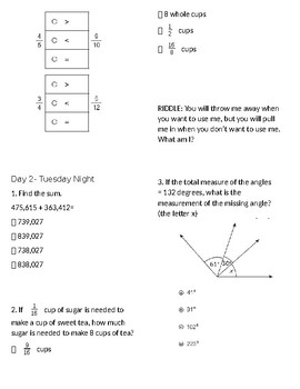4th grade Math Testing Review HW 2