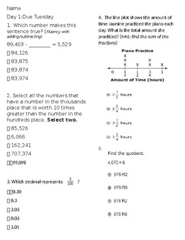 4th grade math test review teaching resources teachers pay teachers 4th grade math testing review hw 4 fandeluxe Gallery
