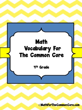 4th grade Math Vocabulary Word wall for The Common Core
