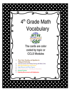 4th grade Math Vocabulary for the Year - CCLS and Module based