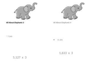 4th grade Multiplication Treasure Hunt All About Elephants x 3 practice