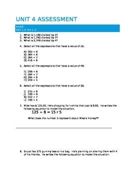 4th grade Division assessment NBT.2.6 OA.1.3 Mult-step NBT.b.6