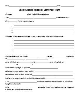 4th grade North Carolina Social Studies Scavenger Hunt