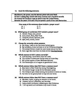 4th grade Nouns Test