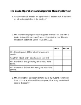 4th grade Operations and Algebraic Review for SBAC