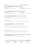 4th grade Place Value Review Worksheet