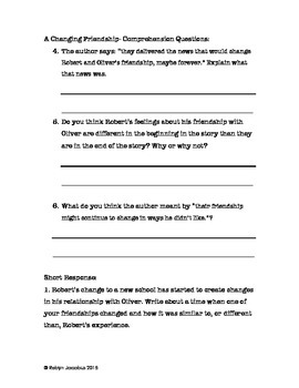 4th Grade CCSS ELA Aligned Reading Comprehension Packet #2 & Answers