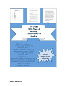 4th Grade CCSS ELA- Reading Comprehension Story Packet and ...