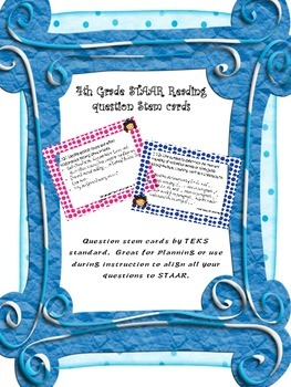 4th grade Reading STAAR question stem cards by TEKS standards