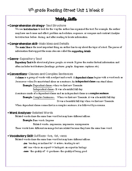4th grade Reading Street Unit 1 Study Guide