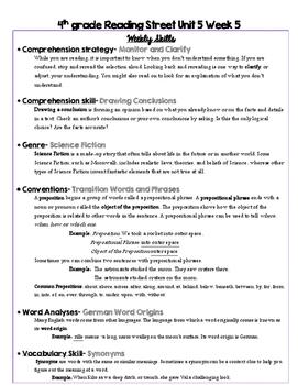 4th grade Reading Street Unit 5 Study Guide