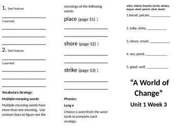 4th grade Reading Wonders Unit 1 week 3