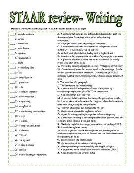 4th grade STAAR Writing Vocabulary Review