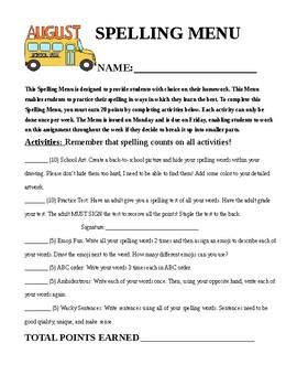 4th grade Spelling Choice Menu