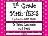 4th grade TEKS to post in class!