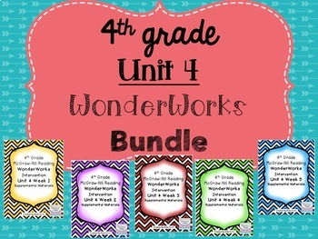 4th grade Unit 4 Reading Supplement for WonderWorks- BUNDLE!