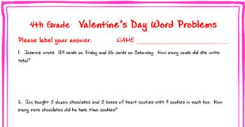 4th grade Valentine Math Word Problems.