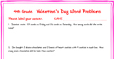 4th grade Valentine's Day Math Word Problems