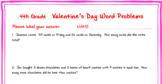 4th grade Valentine's Day Math Word Problems