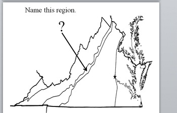 4th grade Virginia Studies SOL 2.ab Full Page Size Map Flash Cards Regions