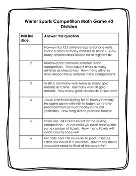 4th grade: Winter Sports Dice Games: Multiplication Division Word Problems