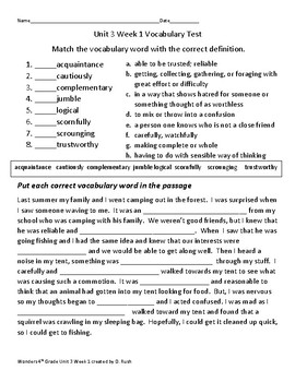 4th grade Wonders Mc Graw Hill Unit 3 Weeks 1-5 Vocabulary Tests/Worksheets