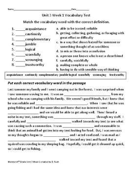 4th grade Wonders Unit 3 Weeks 1-5 Vocabulary Tests ...