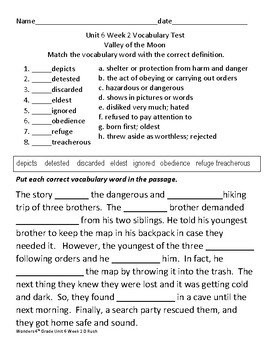 4th grade Wonders Mc Graw Hill Unit 6 Weeks 1-5 Vocabulary Tests/Worksheets