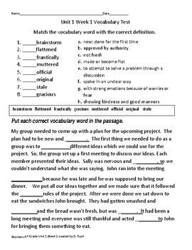 4th grade Wonders Vocabulary Units 1-6 Bundle