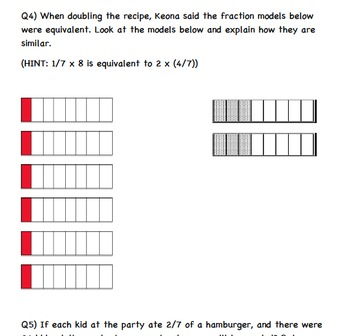 Common Core Math Activity-Multiplication of Two Fractions-4.NF.B.4