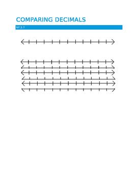 4th grade comparing decimals NF.3.7 Number lines