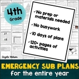 4th grade emergency sub plans: EVERYTHING you need for 10 days of absences