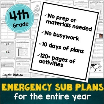 Fourth grade sub plans: EVERYTHING you need for 10 days of absences