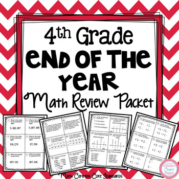 4th Grade End of The Year Math Review Packet