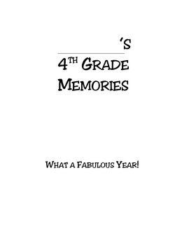 4th grade end of the year memory booklet