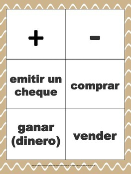 4th grade financial literacy math vocabulary game in Spanish
