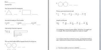 4th grade fractions test/quiz