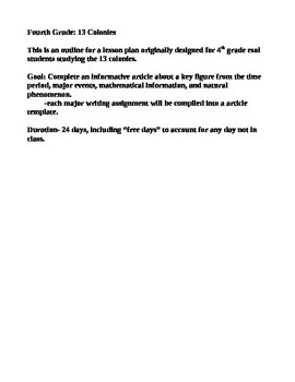 4th grade lesson outline 13 colonies