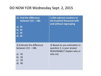 4th grade math DO NOWS