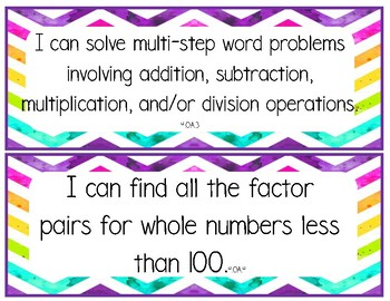 "4th grade math ""I can"" learning targets"