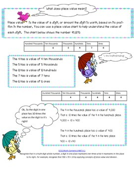 4th grade math Numbers and Operations Base Ten Pack