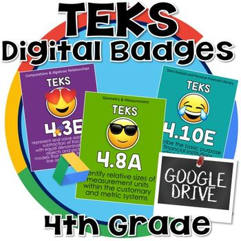 4th grade math TEKS - Digital Badges for Google Drive